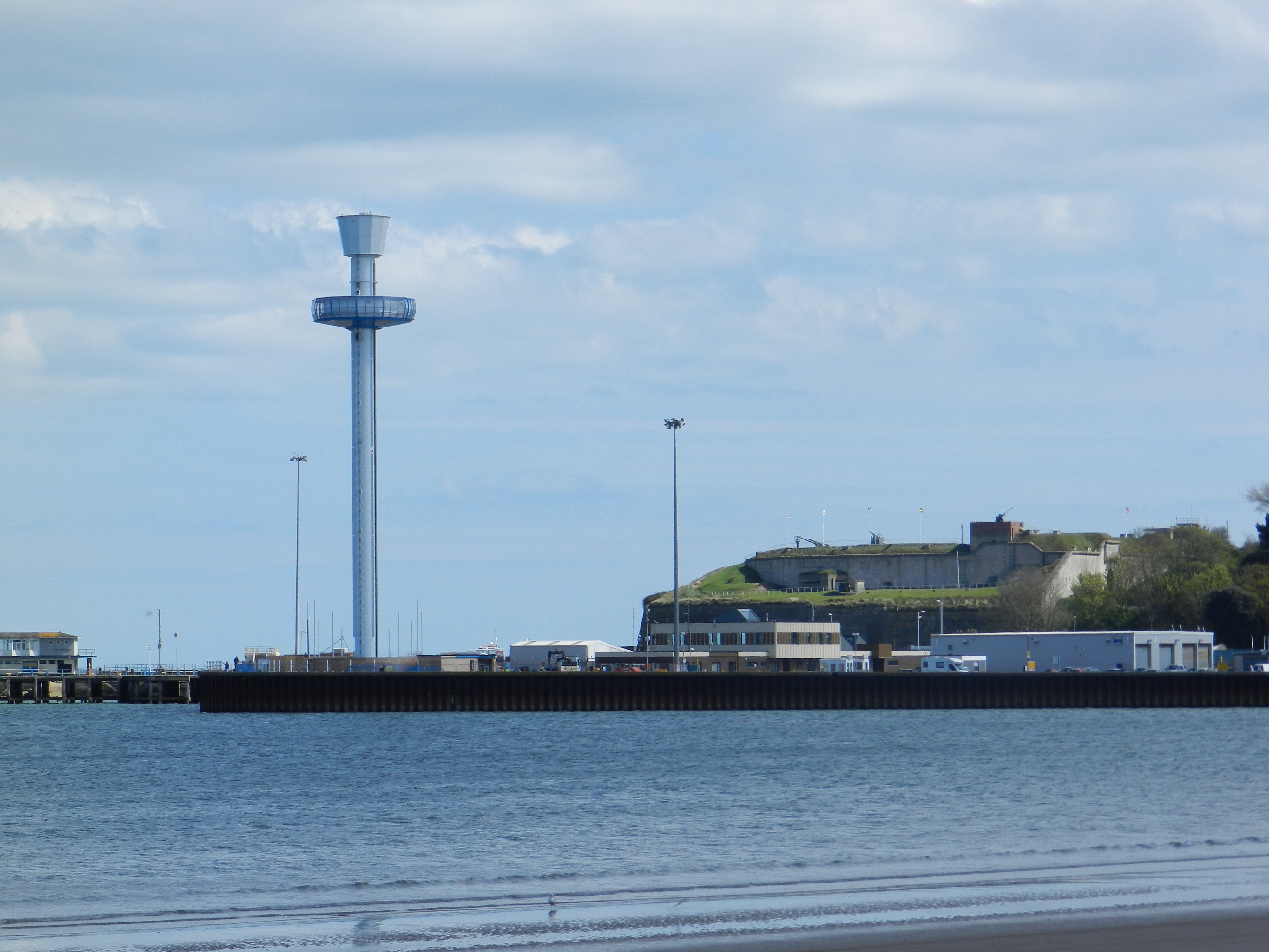 The Sealife viewing tower with the Nothe Fort on it's right hand side as seen from the front of The Channel