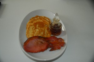 Freshly made American Pancakes with locally sourced bacon and maple syrup, many of our guests choose this and say it's yummy